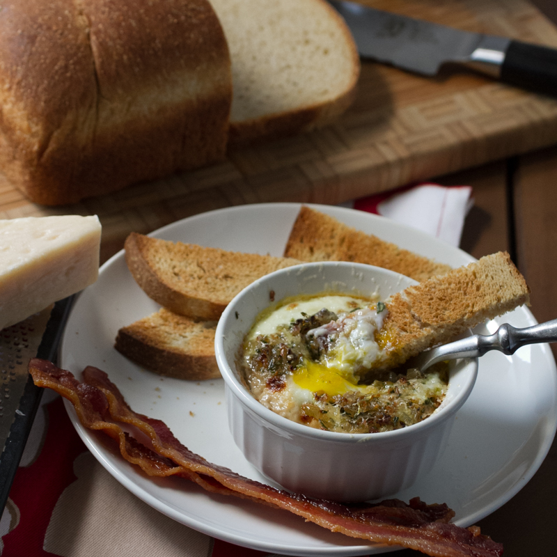 """Baked eggs with mushrooms, shallots, and rosemary are a delicious weekend breakfast or brunch, or even a light weeknight """"breakfast for dinner""""!   Recipe from Chattavore.com"""