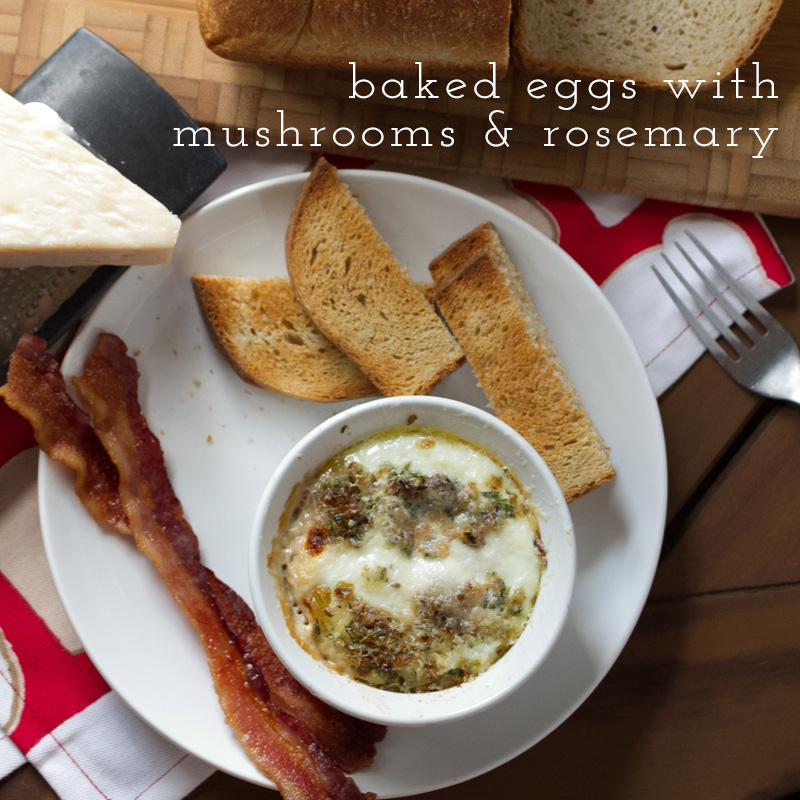 Baked Eggs with Mushrooms, Shallots & Rosemary // Chattavore