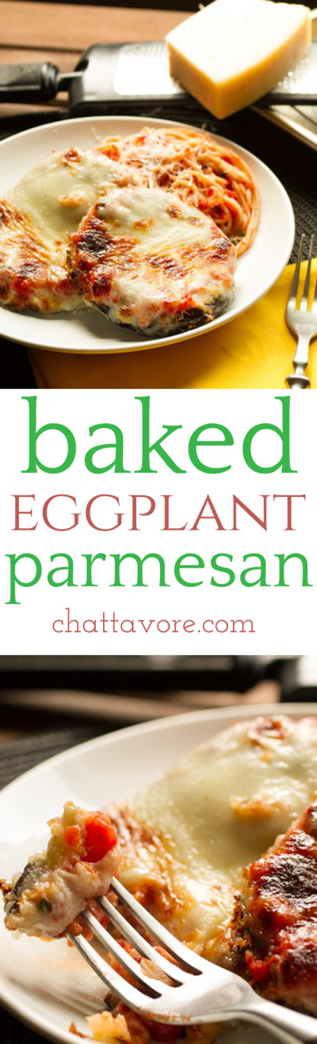 Baked eggplant parmesan eliminates the mess associated with frying eggplant, but with crunchy panko & gooey mozzarella, it doesn't eliminate the flavor! | recipe from Chattavore.com