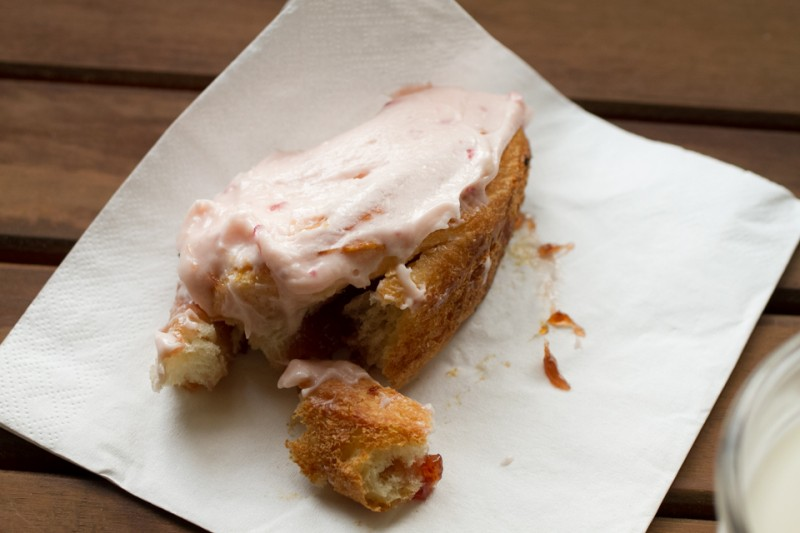 These strawberry brioche sticky buns have a rich strawberry cream cheese frosting. They are super-gooey and delicious, perfect for a weekend treat! | recipe from Chattavore.com