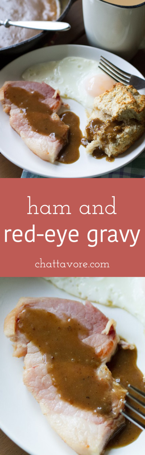 """Ham and red-eye gravy are a classic Southern staple that many have forgotten about. My version is """"toned down"""" for those of you who are a little timid! 