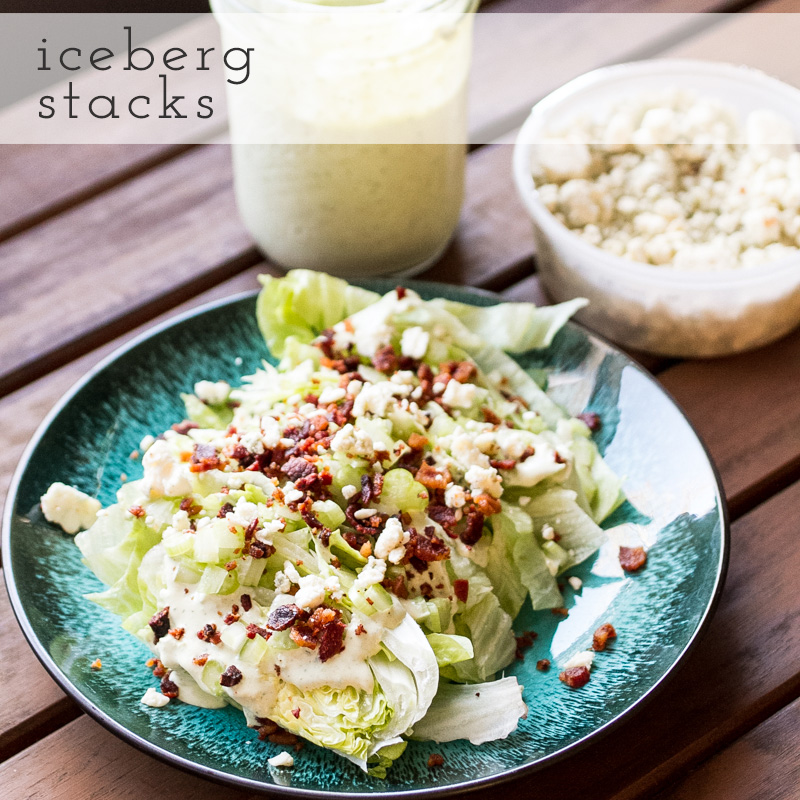Iceberg salad stacks are an easier-to-eat version of the classic iceberg wedge. With bacon, blue cheese, & green goddess dressing, they're a perfect salad! | recipe from Chattavore.com