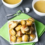 Easy Beer-Cheese Soup & Pretzel Bites