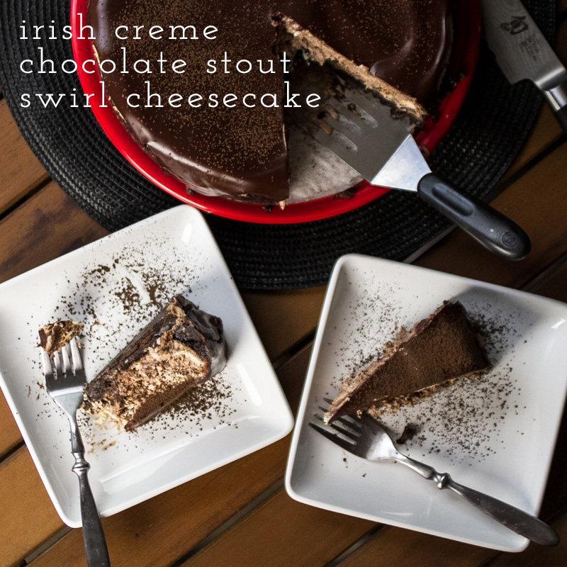 This Irish creme cheesecake with a chocolate stout swirl and bourbon ganache will make the cheesecake AND chocolate lovers in your life happy!   recipe from Chattavore.com