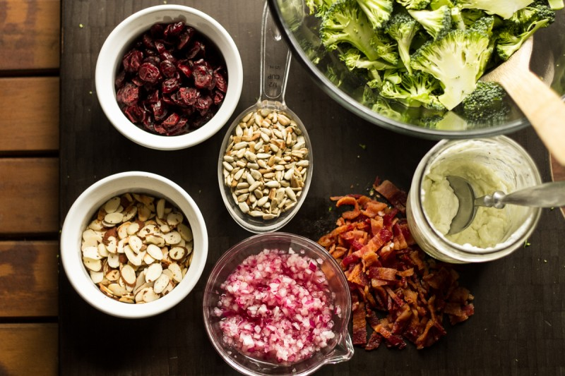 This fresh broccoli salad has the classic ingredients plus pickled onions and dried cranberries. It's delicious and substantial enough to be a main dish! | recipe from Chattavore.com