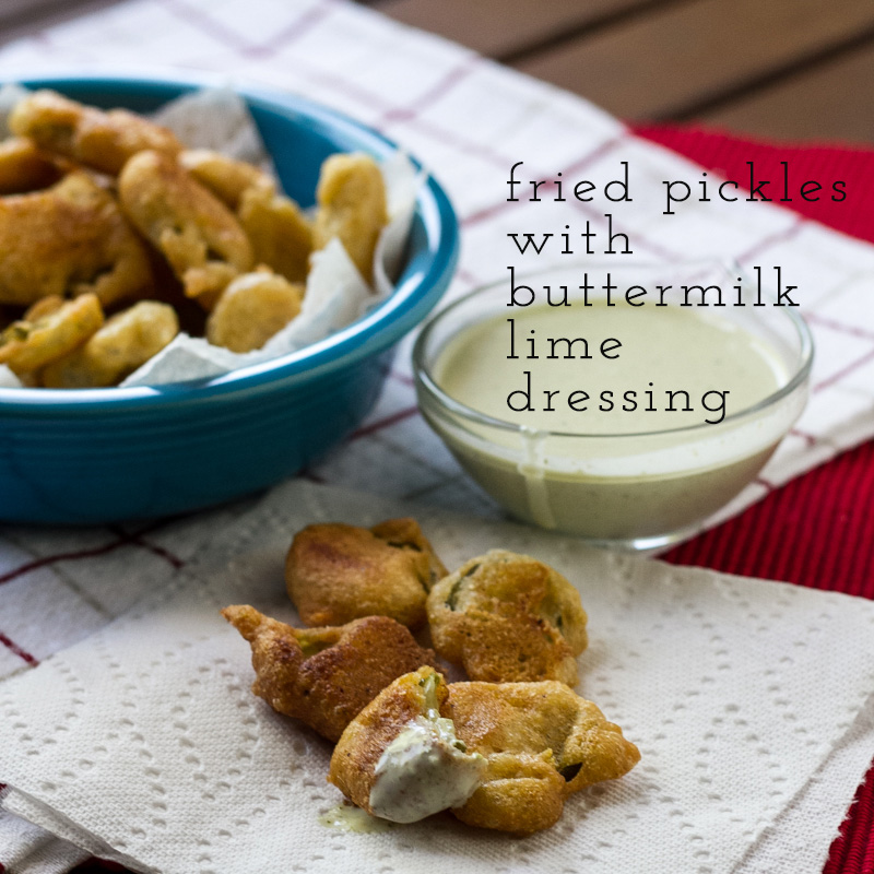 Southern fried pickles are my favorite snack. They're easy to make and perfect served with this buttermilk lime dressing.  | recipe from Chattavore.com