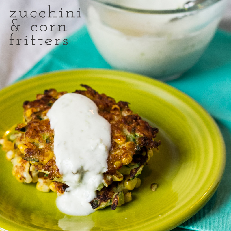 When zucchini season is in full swing, there is no better way to use up all the extra than these zucchini and corn fritters with yogurt sauce! | recipe from Chattavore.com