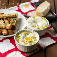 Baked Eggs with Spinach and Toast Fingers