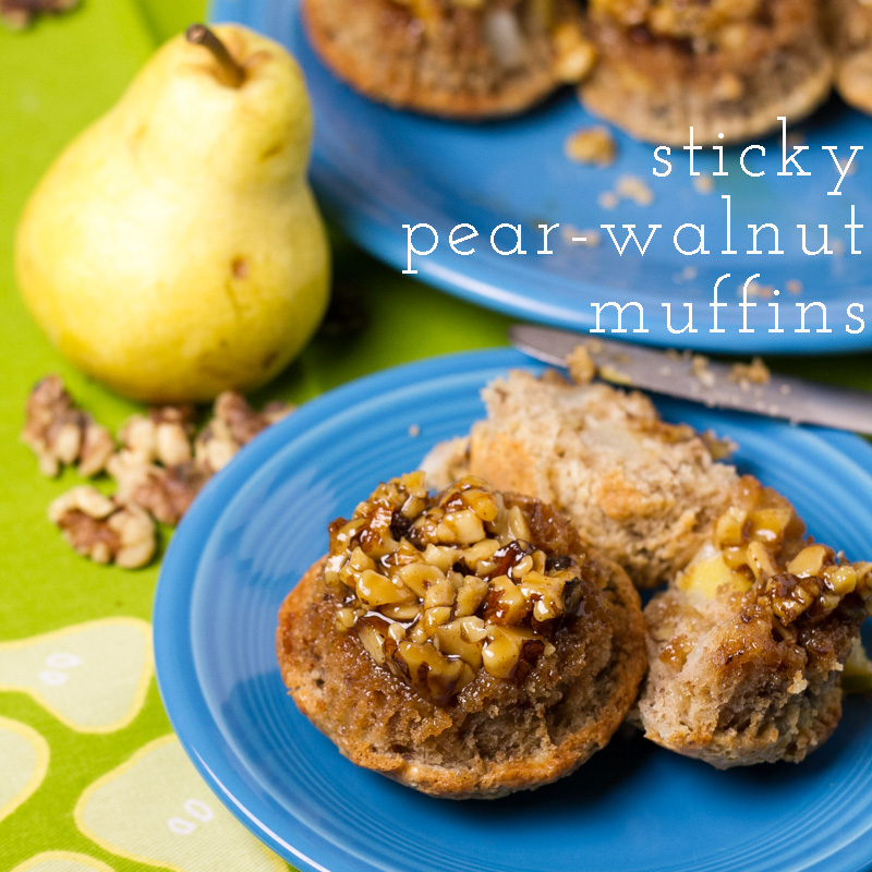 Upside-down sticky pear and walnut muffins? Those I could probably talk myself into making at least every other weekend. The recipe is super-simple, too. | recipe from Chattavore.com