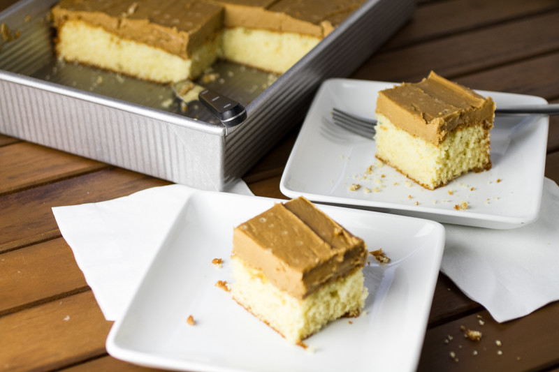 Caramel cake is a Southern classic, but I turned it into a caramel sheet cake, which is so much easier but still as delicious and dramatic! | recipe from chattavore.com