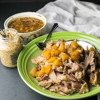 Slow Cooker Pork Shoulder & Peach-White Wine Sauce (Plus Instant Pot Adaptation)