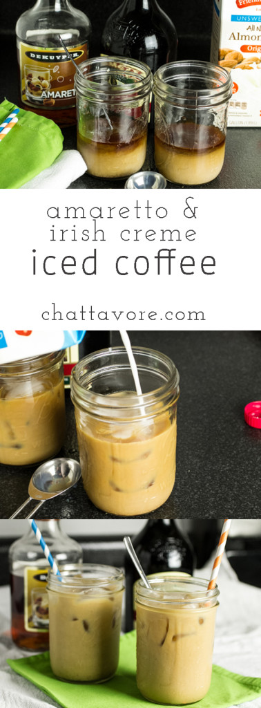 In the summer, drinking coffee during the daytime can be a bit problematic, but that problem is easily solved with this amaretto & Irish creme iced coffee! | recipe from Chattavore.com
