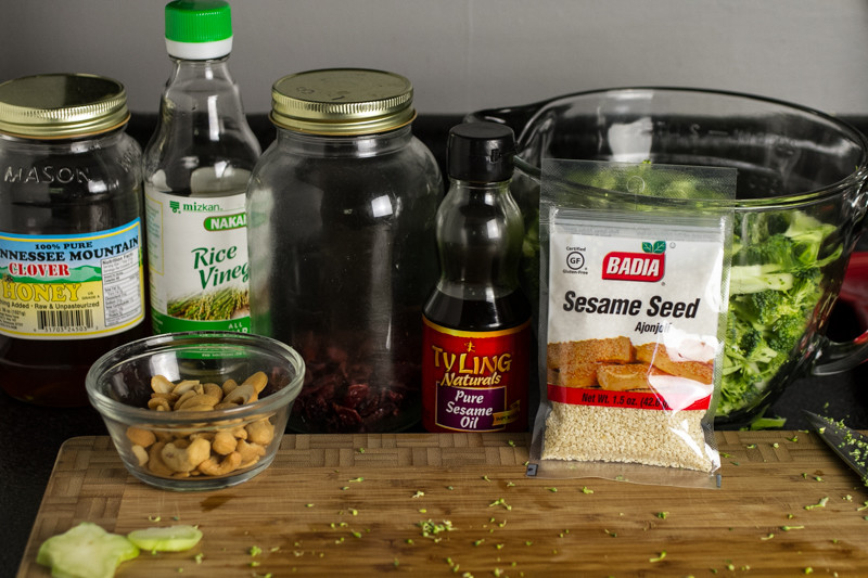 Honey-sesame broccoli salad is a delicious and light side dish for your picnic, weeknight dinner, or your lunchbox!   chattavore.com