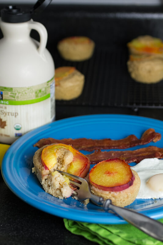 Peach pancake muffins are the perfect way to serve pancakes for breakfast or brunch without having to fuss over them! | chattavore.com