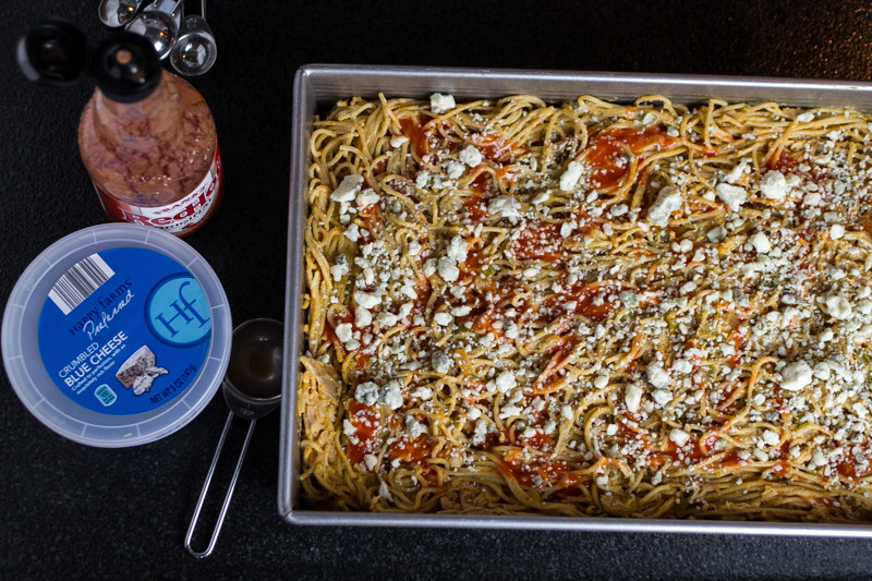Baked buffalo chicken spaghetti has all the flavors of Buffalo wings with none of the pesky bones! | chattavore.com