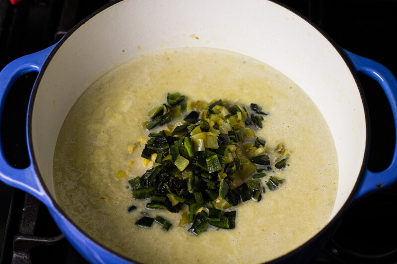 Green chile & corn chowder is a great way to welcome Fall OR use up ...