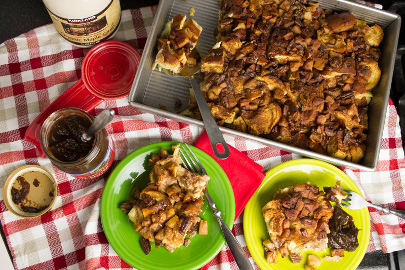 "Apple cinnamon French toast casserole is an easy-to-prepare make ahead breakfast with lots of familiar ""Fall"" flavors! 