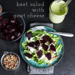 This beet salad with goat cheese is fresh and full of vibrant flavors. A homemade green goddess dressing ties the whole thing together!   recipe from Chattavore.com