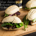 """Blue cheese & balsamic steak sliders are a fun and slightly fancy snack for your Super Bowl Sunday spread...but don't worry about that """"fancy"""" part...because steak. 