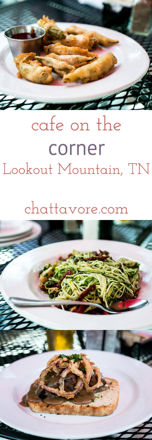 "Café on the Corner is located on Lookout Mountain in Tennessee. They serve ""Southern food re-imagined"" in a casual but beautiful atmosphere. 