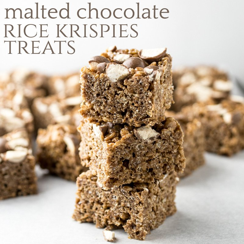 Malted chocolate Rice Krispie treats combine my favorite frozen drink with my favorite sweet treat. They're quick, easy, chewy, and satisfying! | recipe from Chattavore.com