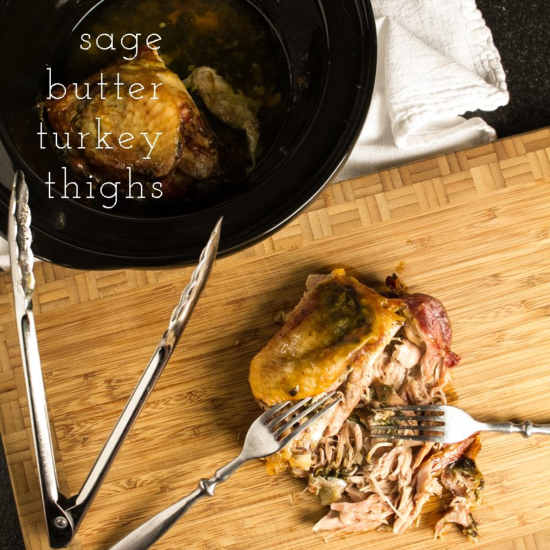 sage butter turkey thighs with text