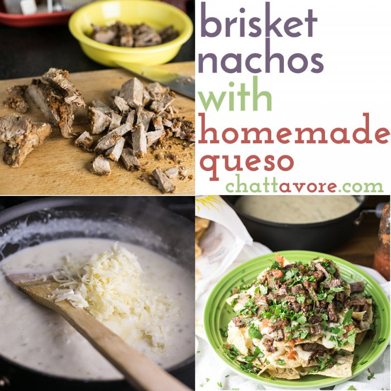 I can't think of a better way to use up leftover brisket than these brisket nachos. With homemade queso, they're easy and fabulously tasty.   recipe from Chattavore.com