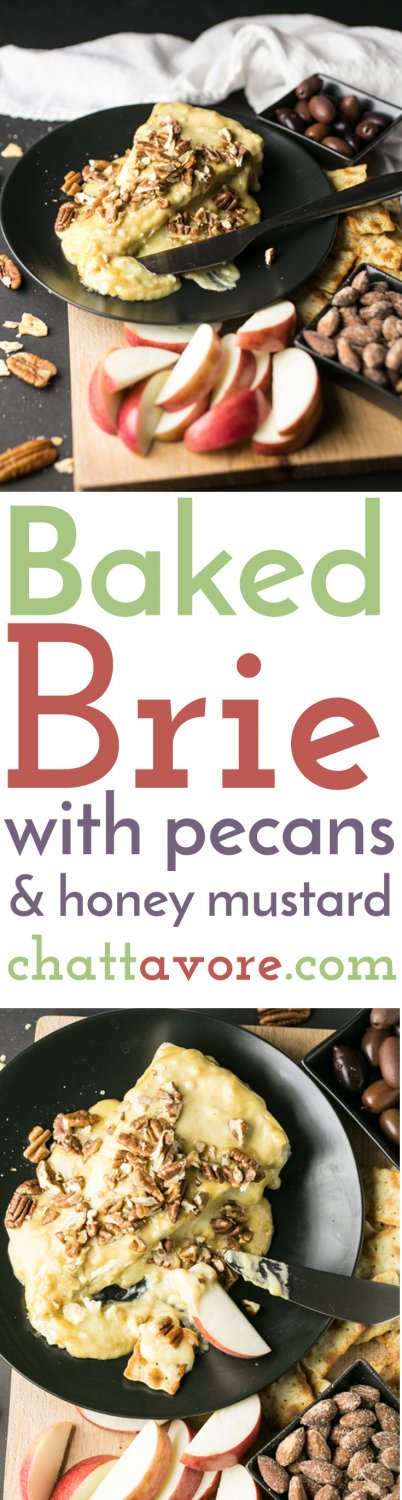 Baked brie with pecans and honey mustard is one of the easiest appetizers that you can make for entertaining, but it's still elegant and delicious. | recipe from Chattavore.com