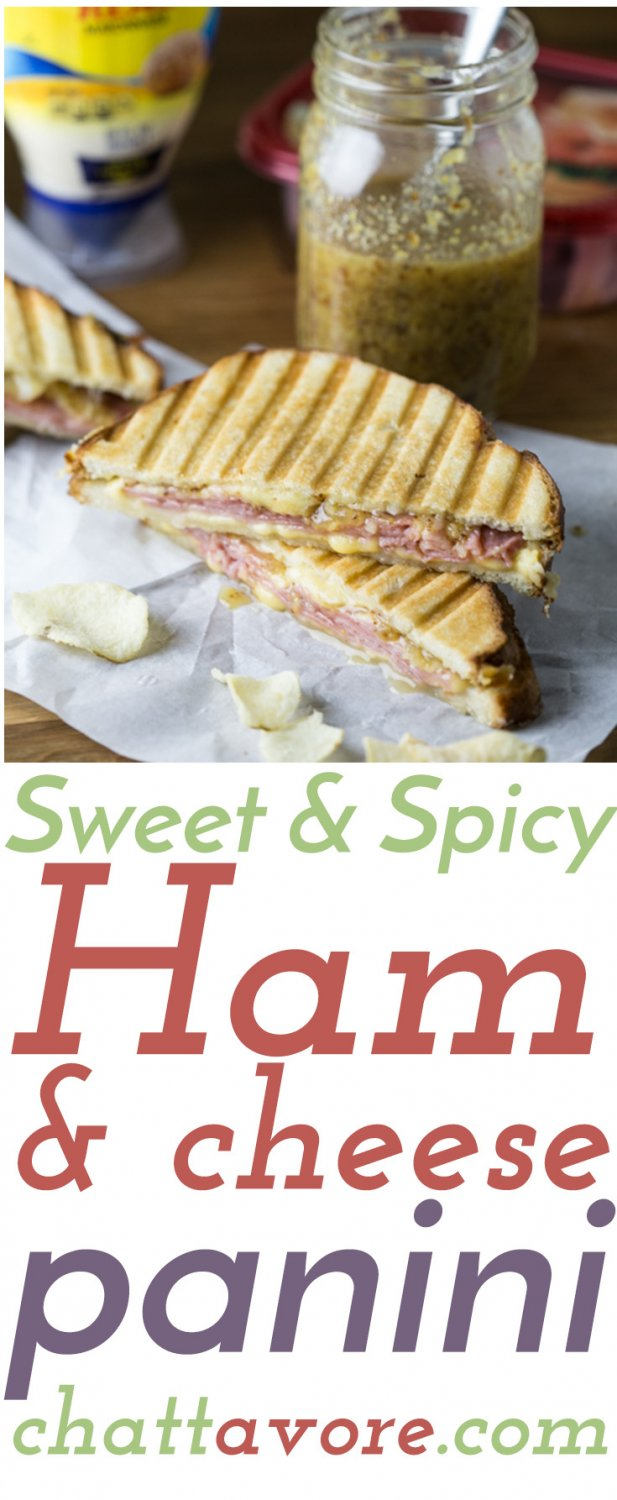 This sweet and spicy ham and cheese panini is a tasty, quick, and easy dinner that only takes five ingredients. It's great for weeknights! #SandwichWithTheBest #CollectiveBias #ad | recipe from Chattavore.com