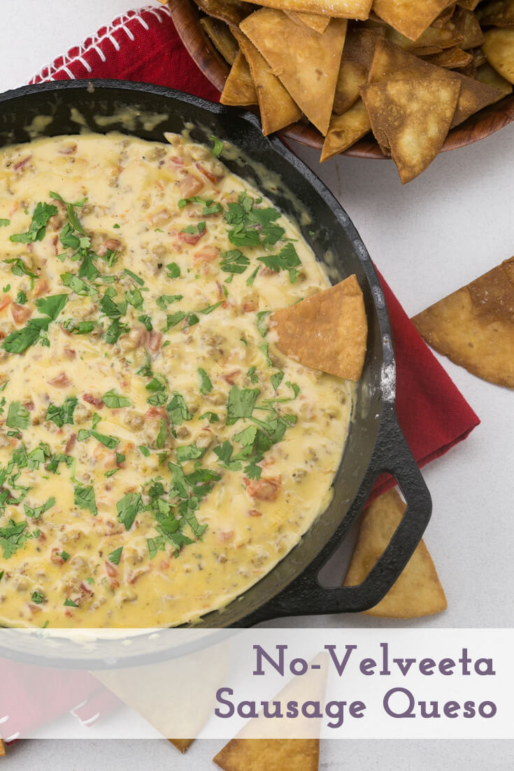 No-Velveeta sausage queso is a perfect tailgating or party snack. It comes together in 15 minutes with no processed cheese involved! | Recipe from Chattavore.com