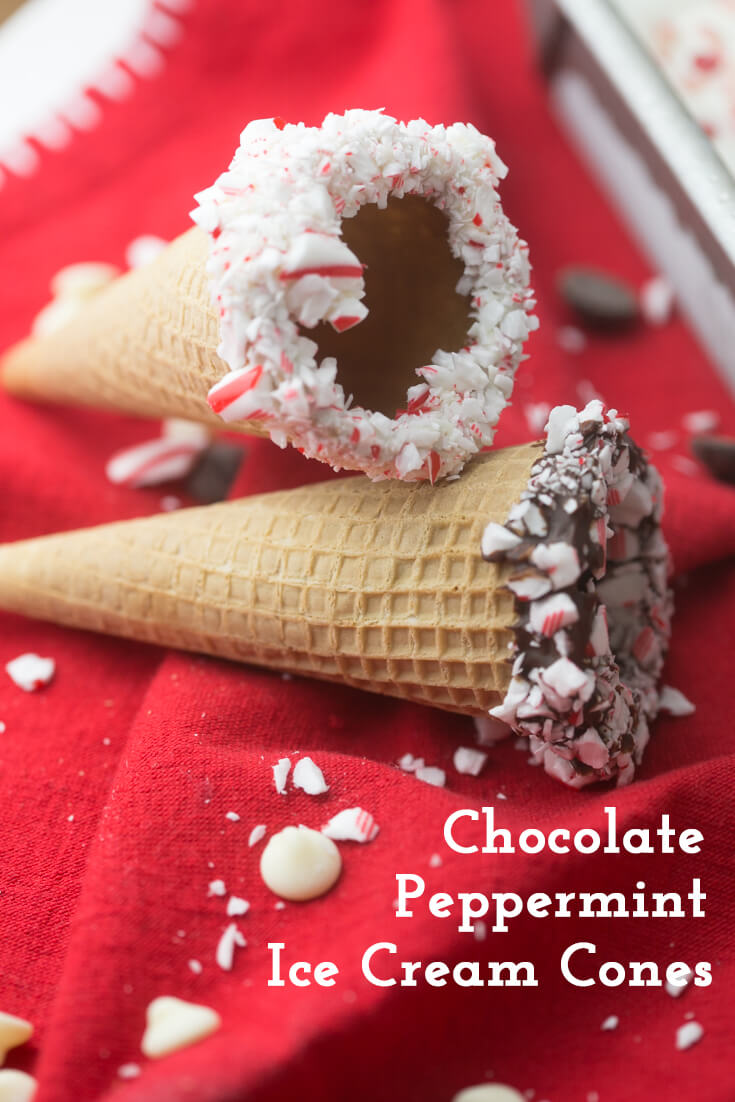 These chocolate peppermint ice cream cones are super-festive and perfect for serving your favorite ice cream this holiday season! #ChristmasDesserts #ChristmasCooking #HolidayCooking #HolidayDesserts #IceCreamCones #peppermint | Recipe from Chattavore.com
