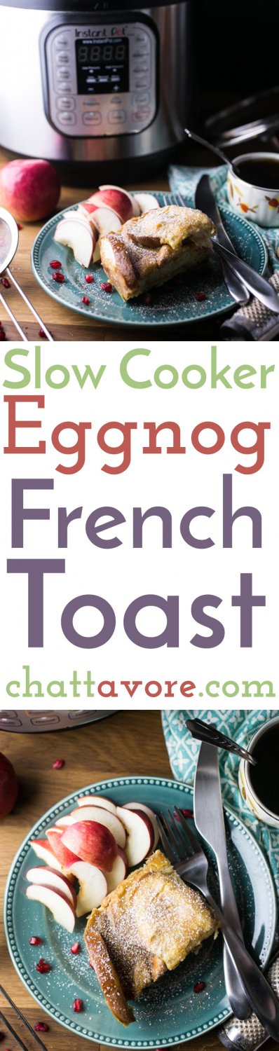 Slow cooker eggnog French toast is a great way to use up eggnog that's on the brink (not that I know what THAT is) and BONUS: 10 minute prep time and it cooks overnight!   recipe from Chattavore.com