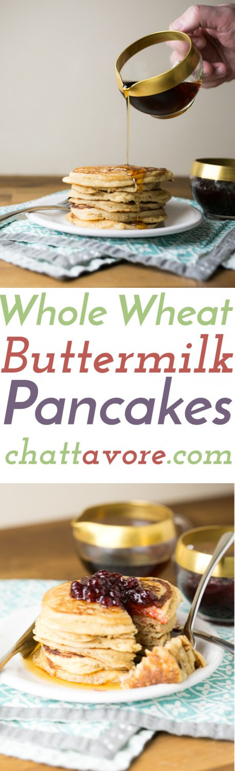 These whole wheat pancakes are easy and every bit as delicious as pancakes made with white flour. They're a perfect weekend breakfast! | Recipe from Chattavore.com