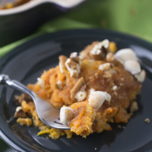 Sweet potato pineapple casserole is sweet, but not too sweet, and is topped with ALL the good stuff. It's a perfect Thanksgiving side dish! | Recipe from Chattavore.com
