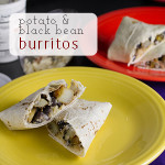 This potato and black bean burrito is a simple and tasty handheld vegetarian lunch or dinner option! Add eggs for a breakfast burrito | chattavore.com