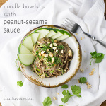Noodle bowls with peanut-sesame sauce are a quick, simple, and delicious vegetarian meal that is sure to please even your picky eaters. I mean, they're made with peanut butter. How could you go wrong? | recipe from Chattavore.com