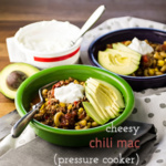 This cheesy chili mac hardly requires any effort. It's made in your pressure cooker or Instant Pot, so it's ready in 45 minutes, mostly hands-off! | recipe from Chattavore.com