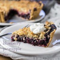 Blueberry Pineapple Pie with Coconut Crumb Topping