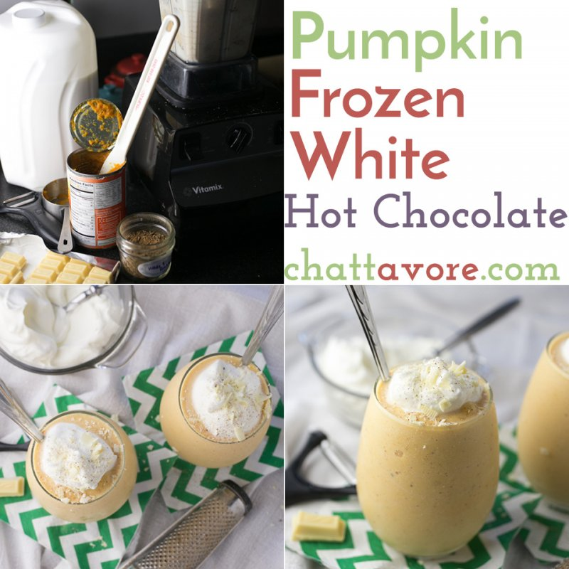 This pumpkin frozen white hot chocolate is an easy and tasty seasonal frozen dessert or treat that comes together in less than ten minutes!   Recipe from Chattavore.com