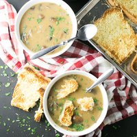 Cream of Mushroom Soup with Swiss-Parmesan Toast