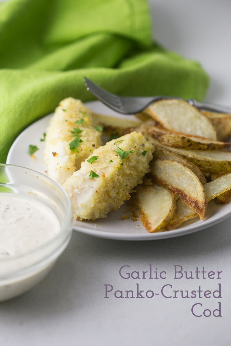 Garlic butter panko-crusted cod is ready from start to finish in less than half an hour, and it's so easy and delicious! No frying required. | Recipe from Chattavore.com