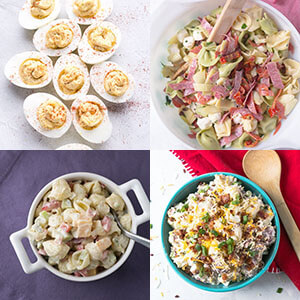 a photo collage showing cold side dishes, including deviled eggs, pasta salad, macaroni salad, and loaded potato salad
