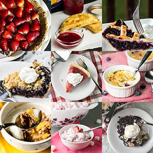 a thumbnail photo collage showing photos of 9 summer fruit desserts